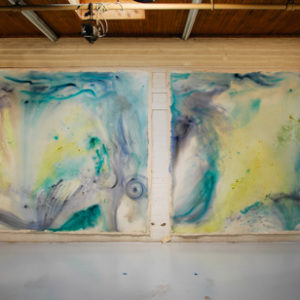 "<strong>Roma Sea Pair</strong>, 2010<br>88 x 120"" (each)<br>Acrylic on Canvas"