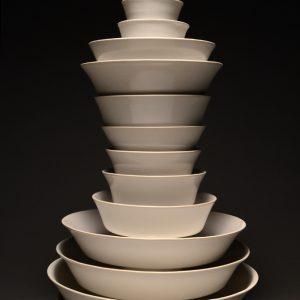 "<strong>Ceremonial Bowls 13, 2014</strong><br/> 23 X 11""<br/> GLAZED PORCELAIN BOWLS"