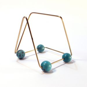 "<strong>MCM Housing Series</strong>, 2016<br>5 x 4.5 x 5"" and 7 x 4.35""<br>Brass, stabilize turquoise, varnish, glue"