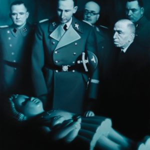 "<strong>Heydrich Contemplating Golem's Daughter</strong>, 2008<br>80 x 66""<br>Mixed media, oil and acrylic on canvas"