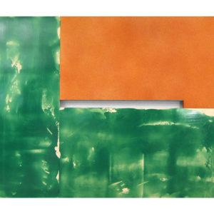 "<strong>sprayedoragegreen (2013)</strong><br/> 86 X 130""<br/> ACRYLIC ON CANVAS"