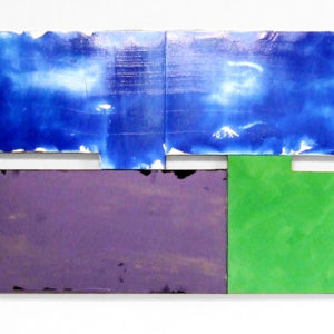 """<strong>twobluespurplegreen (2013)</strong><br/> 32 X 77""""<br/> ACRYLIC ON CANVAS"""