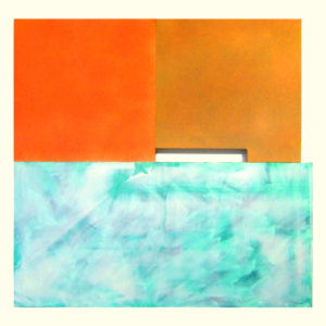 """<strong>twoorangescloudybay (2012)</strong><br/> 86 X 130""""<br/> ACRYLIC ON CANVAS"""