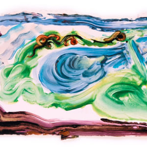 """<strong>Caillebotte's Lily Pond</strong>, 2008<br>11.25 x 30""""<br>Mixed Media on Paper"""