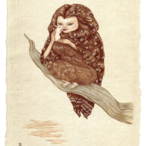 "<strong>Owl Girl</strong>, 2011<br>8 x 6""<br>Gouache on Washi Paper"