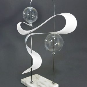 "Counting The Daze, 8 ½""W x 6 ½""D x 15""H, Marble, Glass, Polypropylene, Steel, Steel Fittings and Lacquer"
