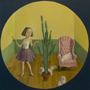 "Scissors, Cats, Cactuses, Oil on Canvas, 24x24"""