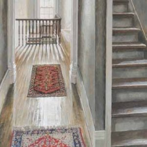 "<strong>The Back Stairs</strong>, 2020<br>36""x 12""<br>Egg Tempera on True Gesso Birch Panel"