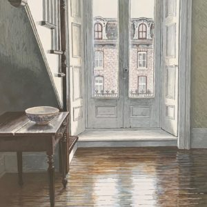 "<strong>The Balcony Doors</strong>, 2020<br>18""x 10""<br>Egg Tempera on True Gesso Birch Panel"