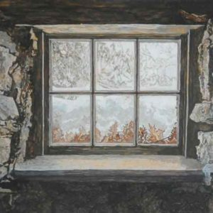 "<strong>Cellar Window</strong>, 2020<br>8""x 16""<br>Egg Tempera on True Gesso Birch Panel"