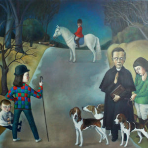 "Mr Mrs Fox On Fox Hunting Night, 2020, 51"" x 59"", Oil on Canvas"