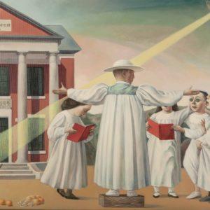 """Choir Practice, 2021, 20"""" x 25.5"""", Oil on Linen"""