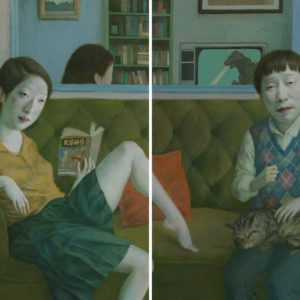 """Movie Night, 2021, 30"""" x 48"""" each panel, Diptych, Oil On Canvas"""
