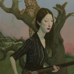 """Panther Lady, 2021, 20"""" x 16"""", Oil On Canvas"""