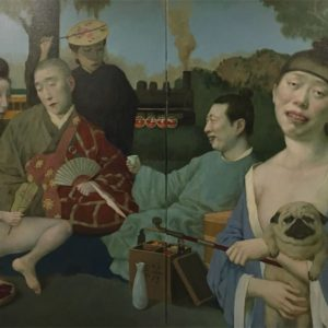 """Picnic, 2021, 48"""" x 30"""" each panel, Diptych, Oil On Canvas"""