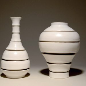 """<strong>Bowl Setting, 2014</strong><br/> 10 X 27 X 6.5""""<br/> GLAZED PORCELAIN"""
