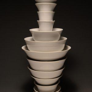 "<strong>Ceremonial Bowls 14, 2014</strong><br/> 24 X 14""<br/> GLAZED PORCELAIN BOWLS"
