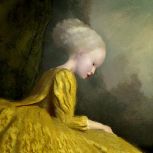 """<strong>La Chasseresse Jaunes</strong>, 2011<br>8 x 8""""<br>Singe Varnished"""