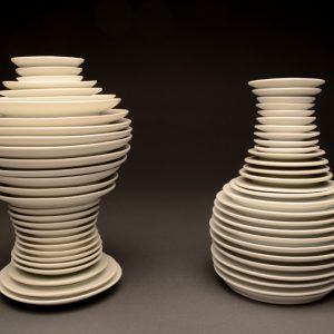 """<strong>Plate Setting, 2013</strong><br/> 10.5 X 13 X 6.5""""<br/> GLAZED IMPERIAL PORCELAIN PLATES"""