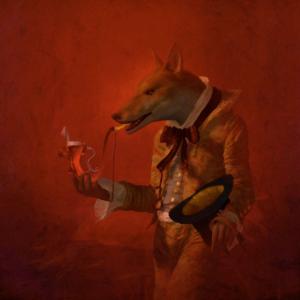 "Red Wolf, 2017, 24 x 24"""