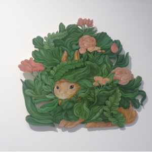 "<strong>Bunny Nests: Among the Foliage</strong>, 2015<br>13 x 15""<br>Gouache on Wood Panel"