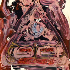 """<strong> Fabergé pendant</strong>, 1997<br>30 x 22""""<br>Acrylic on Rag Paper"""
