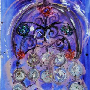 "<strong>Kokosknik Vision</strong>, 1997<br>30 x 22""<br>Acrylic on Rag Paper"
