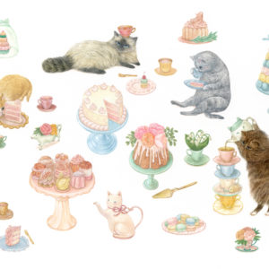 "<strong>High Tea Kitties</strong>, 2015<br>5 x 9""<br>Gouache on Paper"