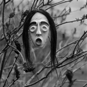 "<strong>False Face Mask</strong><br>19 x 19""<br>Platnium & Palladium"