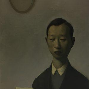 "Reader, 12 x 9.5"" Oil on Canvas"