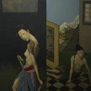 "Sword Dancing 2, 24 x 24"" Oil on Canvas"