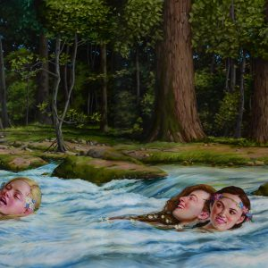 """Swimming Lessons, 2018 44 x 79"""" Oil on canvas"""