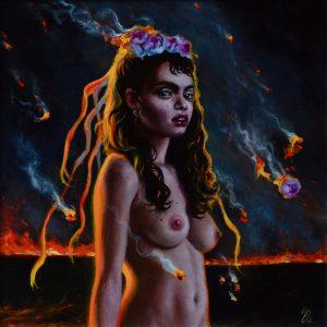 "Into The Dark, 2018 8 x 8"" Oil on canvas"