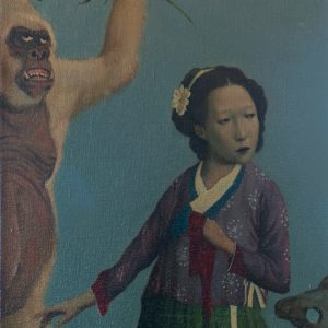 """Meet The Legendary Monkey, 16 x 13"""", Oil on Canvas"""