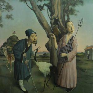 "A Buddhist and a Taoist Priest, 48 x 48"", Oil on Canvas"
