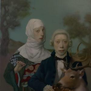 "Deer Ghost, 30x24"", Oil on Canvas"