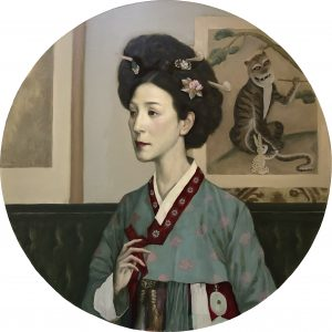 "Portrait of Eunshin Kim, 24x24"", Oil on Canvas Panel"