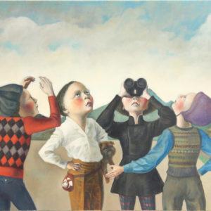 """Bird Watchers, 2020, 24"""" x 30"""", Oil on Canvas"""