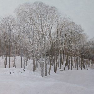"""<strong>Edge Of The Woods</strong>, 2021<br>24""""x 36""""<br>Egg Tempera on True Gesso Birch Panel"""