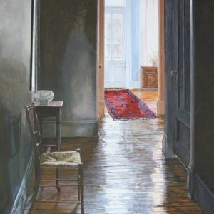 """<strong>Hallway Shadows</strong>, 2021<br>24"""" x 36""""<br>Egg Tempera on True Gesso Birch Panel"""