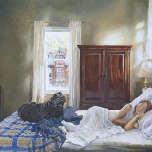 """<strong>Sleeping In</strong>, 2021<br>24"""" x 18""""<br>Egg Tempera on True Gesso Birch Panel"""