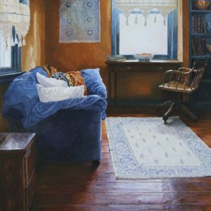 """<strong>Winter Blues</strong>, 2021<br>18"""" x 24""""<br>Egg Tempera on True Gesso Birch Panel"""